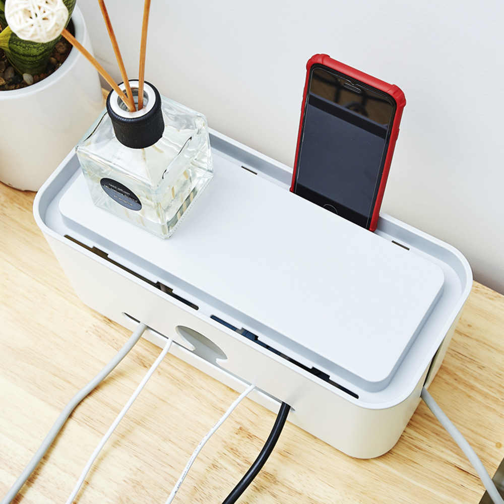 hight resolution of  charging cable management box case power cord cover storage organizer with phone stand data cable wires