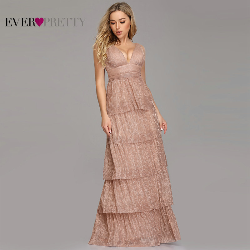 Blush Pink   Prom     Dresses   2019 Ever Pretty Sexy A Line V Neck Layers Ruffles Formal Party Gowns For Wedding Vestidos De Fiesta