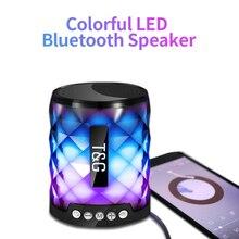 TG цветная светодиодная bluetooth колонка, портативная уличная басовая Громкая колонка, беспроводная мини колонка с поддержкой TF карты, FM стерео Hi Fi коробки