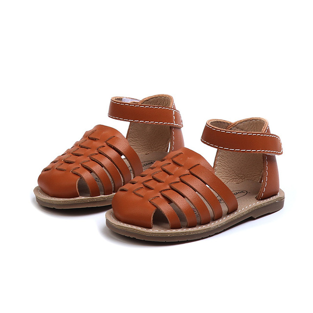 2019 New Genuine Leather Braided Roman Girls Sandals Boy's Summer Holiday Beach Shoes Black Camel White 0-24 months