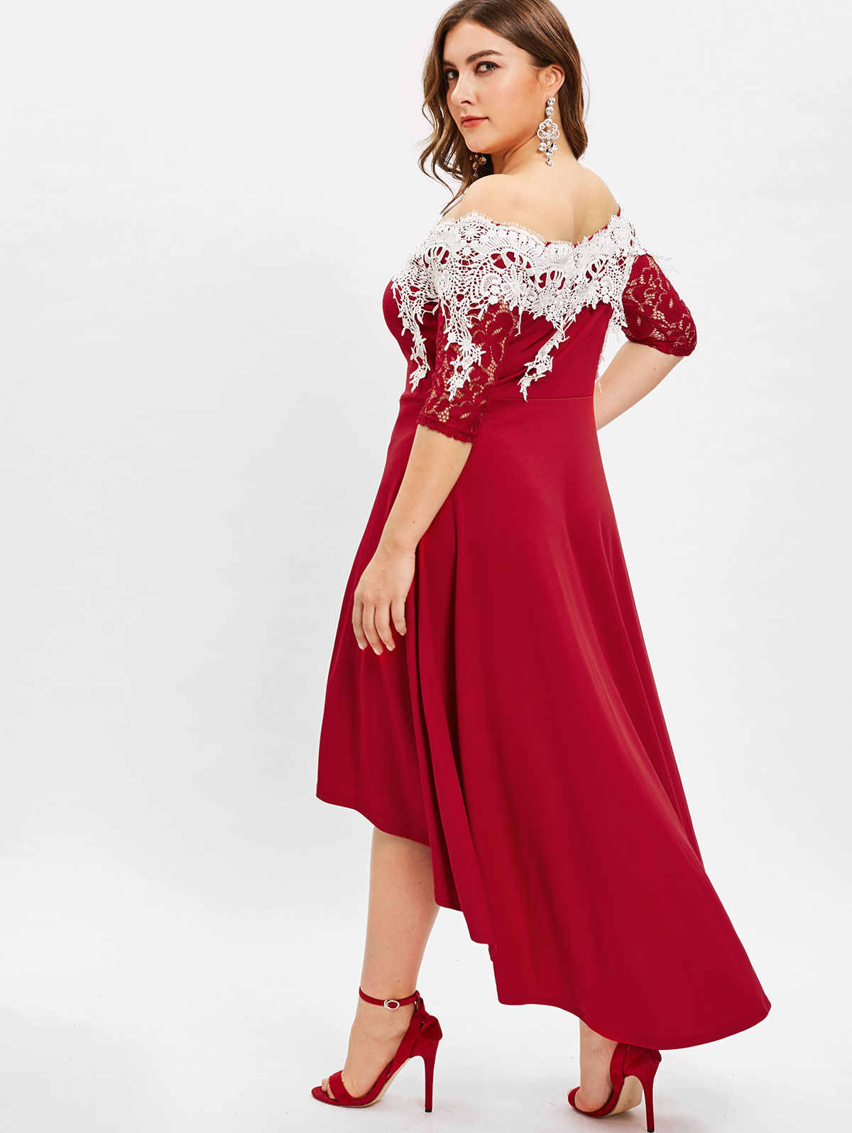 Wipalo Lace Panel Off The Shoulder Plus Size High Low Dress Half Sleeves  Mid Calf Solid Elegant Party Dress 5XL Evening Vestidos