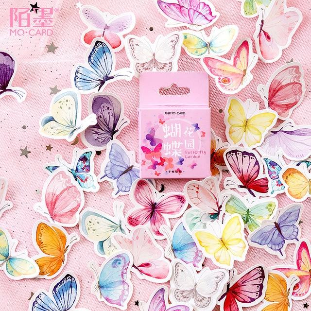 46 unids/caja lindo mariposa pegatinas papelería creativa pegatinas encantador adhesivo pegatinas para niños recortes de diario foto álbumes