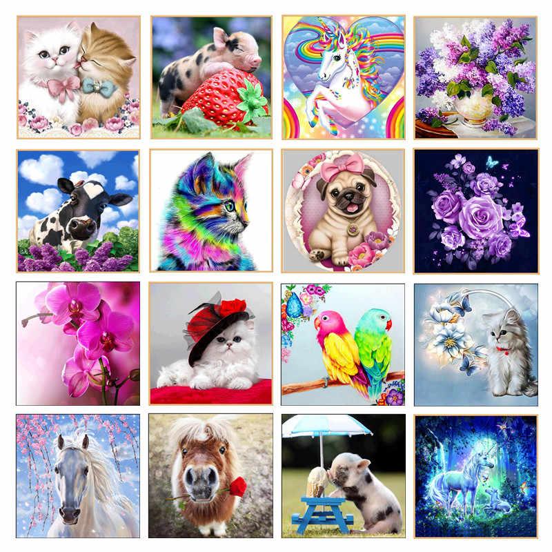5D DIY Алмазная картина, Расписанная мультяшным животным, мозаика, вышивка крестом, ремесла, украшение дома