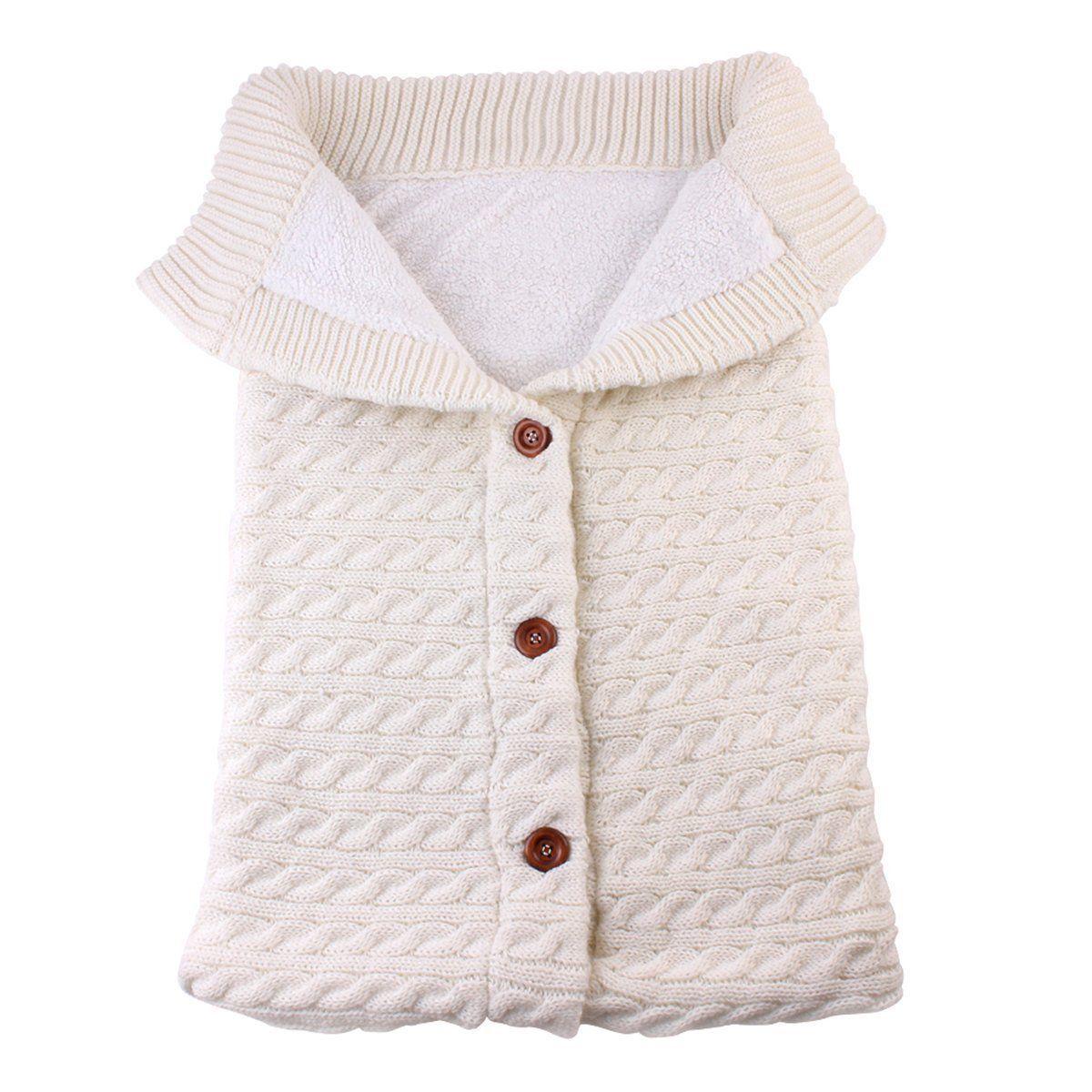 Newborn Baby Winter Warm Sleeping Bags Infant Button Knit Swaddle Wrap Swaddling Stroller Wrap Toddler Blanket Sleeping Bags 4
