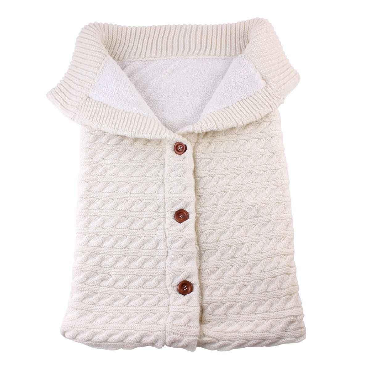 Зимние теплые спальные мешки для новорожденных; вязаная Пеленка на пуговицах для младенцев; пеленка для коляски; одеяло для малышей; спальные мешки