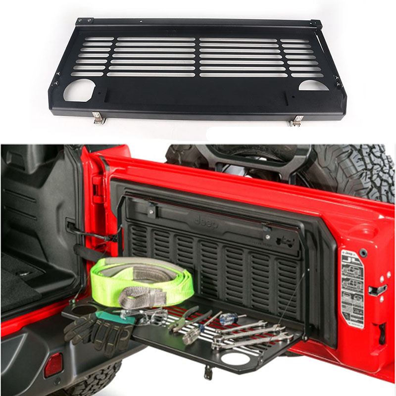 1Pc Tailgate Table Rear Door Foldable Shelf Storage Bracket Accessories Aluminum Off Road Travel for Jeep Wrangler JL 2018 2019|Rear Racks & Accessories| |  - title=