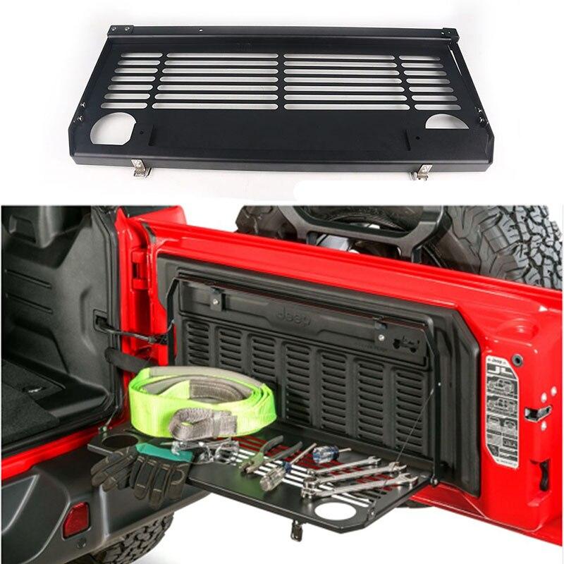 1Pc hayon Table porte arrière pliable étagère support de rangement accessoires aluminium tout-terrain voyage pour Jeep Wrangler JL 2018-2019