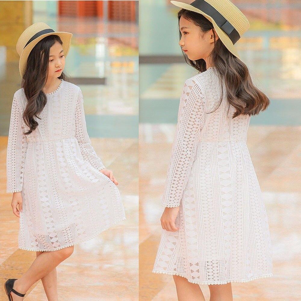 Lace Teenage Girl Princess Dress White Baby Girl Dress