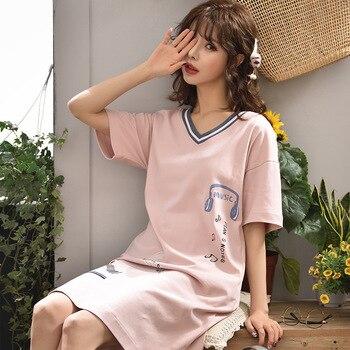 c8be3fab Verano pijamas de algodón de las mujeres ropa de dormir vestido Homewear  camisón de manga corta dulce niña camisón ropa de dormir en casa ropa