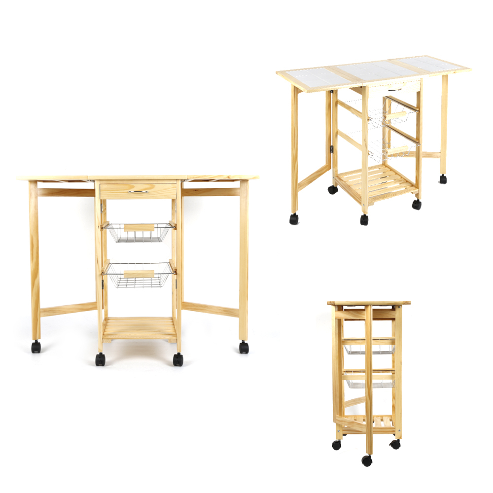 Top Quality Wood Foldable Kitchen Islands Trolleys Basket Movable Sundries Shelf Rack Storage Dinner Table Desk With Wheels HWC