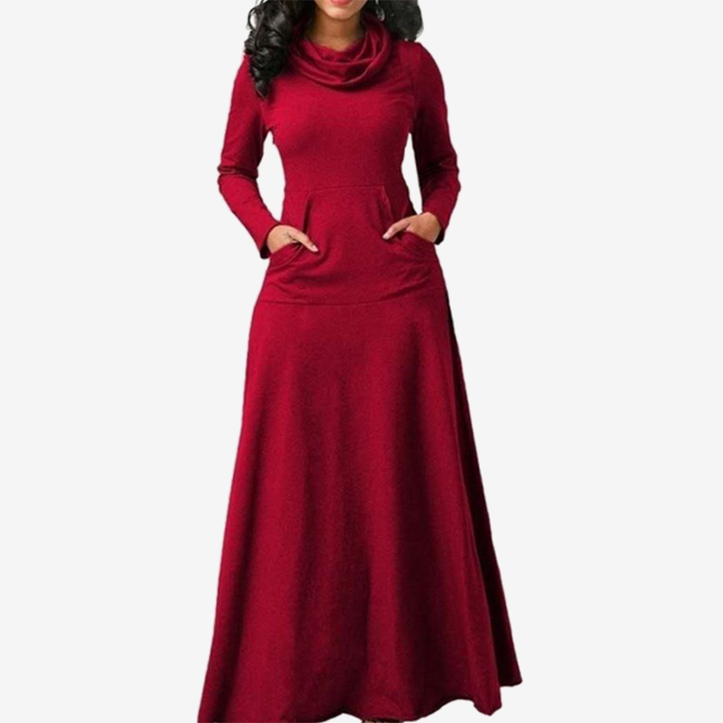 2019 Hot dress for Women Scarf-neck Cotton Dress Slim Fashion Umbrella Robe Bow Neck Long Elegant Vestidos