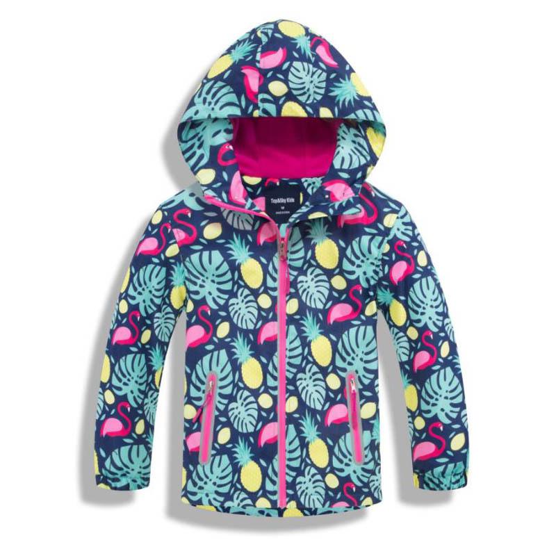 Непромокаемые куртки для девочек; Верхняя одежда; спортивная куртка; ветрозащитное теплое пальто из флиса; Осенняя детская куртка; детская ветровка с капюшоном
