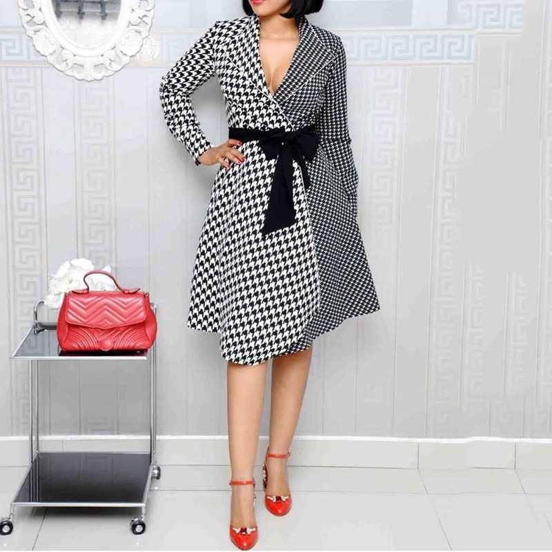 Клетчатое элегантное платье африканская Женская офисная одежда Лоскутные Платья Высокая талия с поясом весна осень длинный рукав женские ретро платья