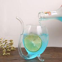 Вино Виски Стекло Термостойкие стекло сосать для сока молока чашки чай вино чашка с питьевой трубки соломы
