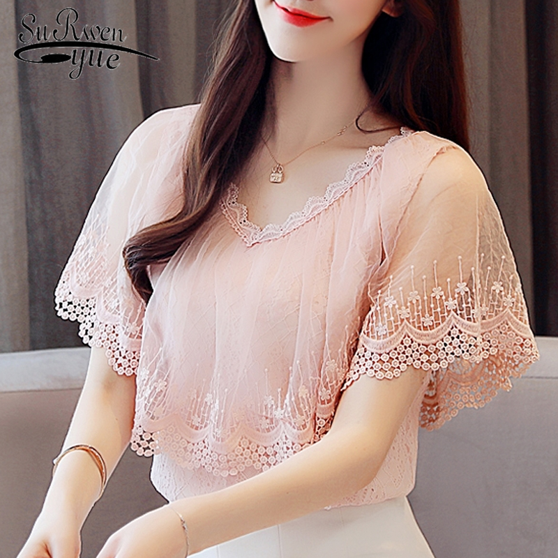 Fashion women   blouses   2018 summer lace   blouse     shirt   women tops and   blouses   short sleeve lace top female blusa feminina 0788 30