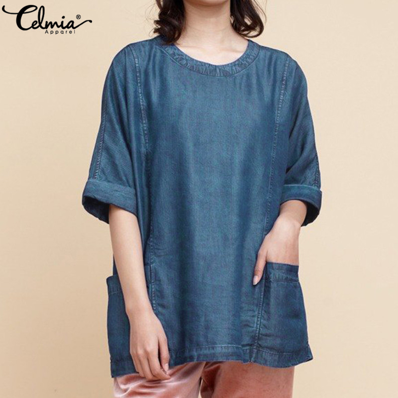 Celmia Plus Size Women Denim Blouse 2019 Summer O-neck Half Sleeve Casual Baggy Blue Shirt Tunic Tops Pockets Loose Blusas Femme