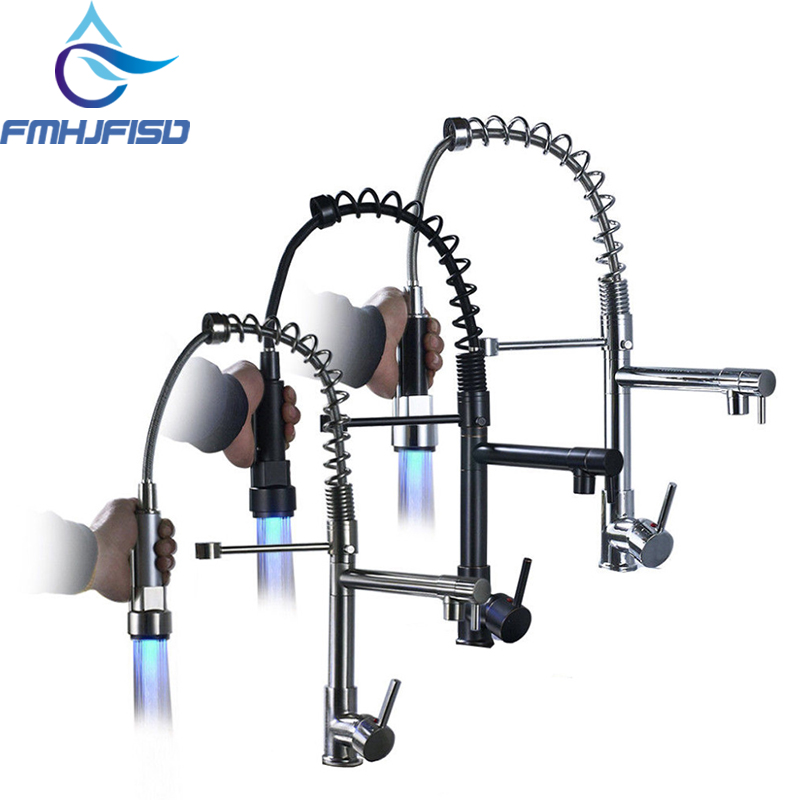 Pull Down Kitchen Faucet Swivel Spout Single Hole Sink Mixer Taps Deck Mounted LED Color Changing