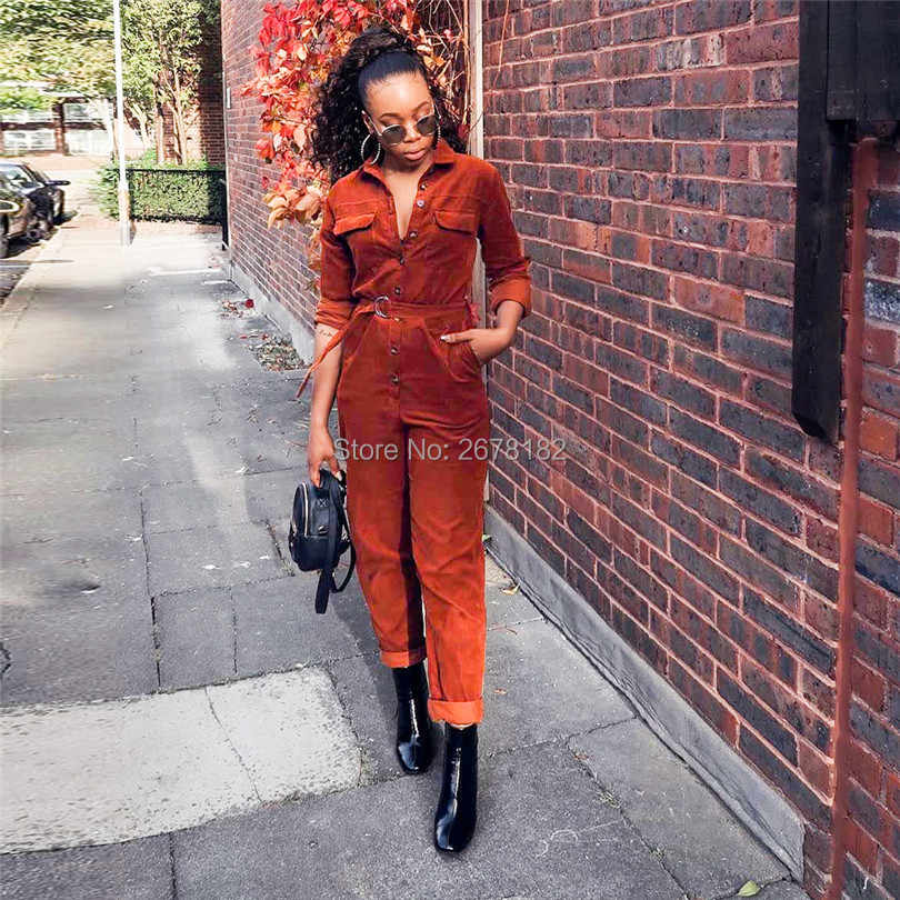 Solid Women Casual Corduroy Jumpsuit Knoppen Up Turn Down Kraag Lange Mouw Zakken Slim Romper Mode Streetwear