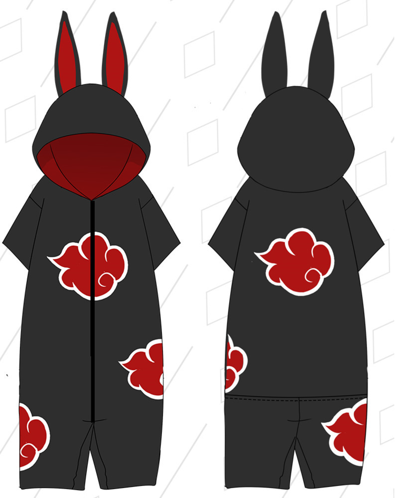 Summer Anime Naruto Pajamas Anime Naruto Cosplay Hooded Short Jumpsuits Soft Fancy Onesie Nightwear Unisex Rompers A9009