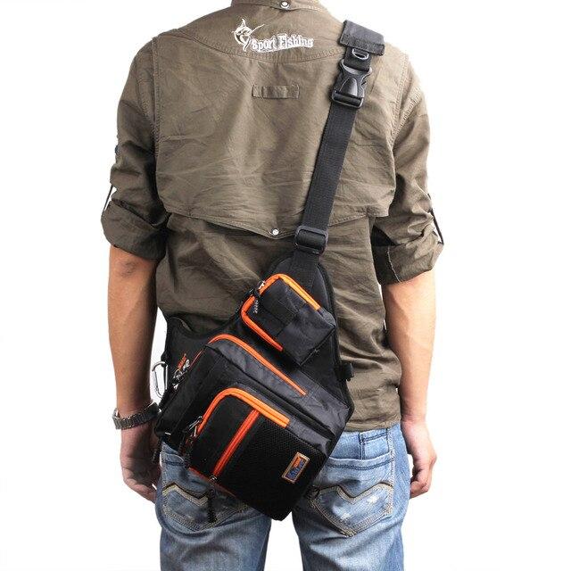 Sac de pêche imperméable en toile imperméable avec leurre, sac dextérieur et moulinet, sac de matériel de pêche, vert/Orange/noir