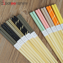 BalleenShiny Bamboo 5 Pairs/set Chopsticks Japanese Style Cute Kitchen Anti-slip Tableware Restaurant Hotel Supply