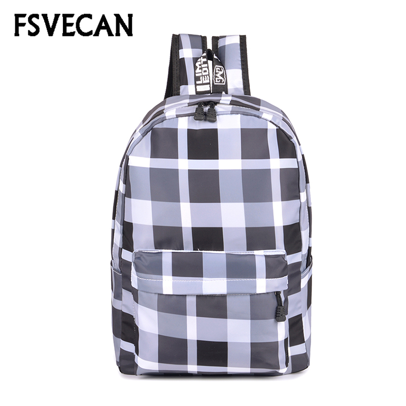 Women Nylon Backpack Female Fashion Plaid Style Travel Large Capacity Waterproof Backpacks School Bags For Teenager Girls 2018 fashion 3d animal dog cat printing women s laptops bagpacks large capacity teenager girls school backpacks women travel backbag