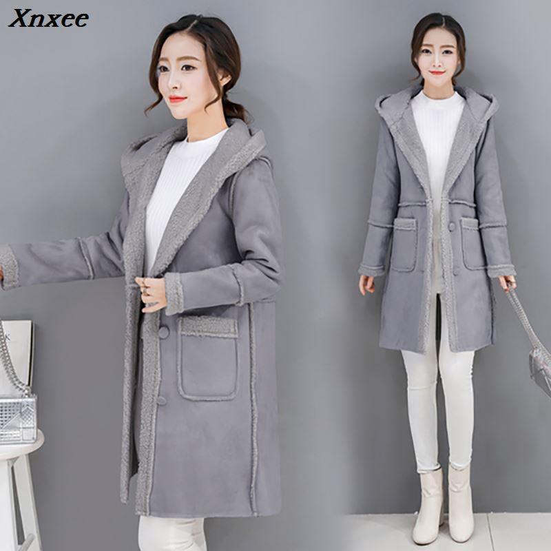 Xnxee Faux Fur Coat Women Winter Jacket 2018 Casual Hoodies Long Sleeve Lambswool Jacket Coat Women Overcoat Plus Size 3XL