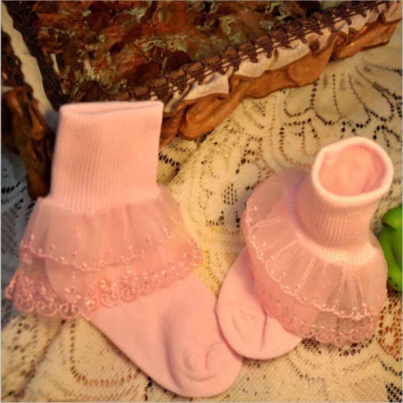 Носки для новорожденных мальчиков и девочек белое кружевное платье с цветочным рисунком с оборками на крестины Дети носки принцессы для малышей шифон Вечерние Платье Носки От 1 до 8 лет