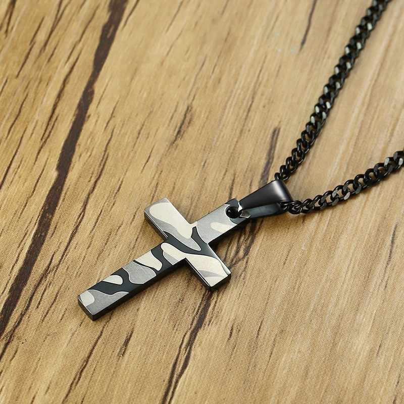Camuflagem charme cruz colar masculino clássico aço inoxidável cor preta cruz crucifixo pingente