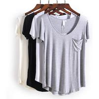 4 цвета модные Универсальные V образным вырезом футболки с коротким рукавом Новые летние поступления S-4xl плюс Размеры сужающаяся к талии сво...
