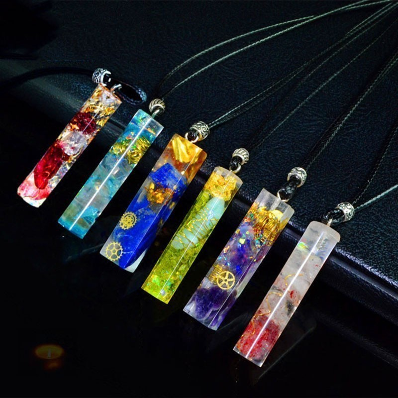 AURA REIKI Orgonite Energy Pendant Transfer Natural Crystal Sweater Chain Men And Women Necklace Bring Lucky Healing Wicca