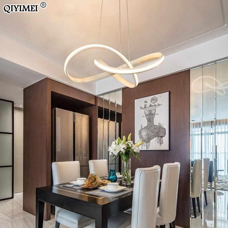 Белый черный светодиодный подвесной светильник магазин бар столовая кухня комната алюминиевый корпус Затемнения с пультом дистанционного управления подвесные лампы AC85-260V