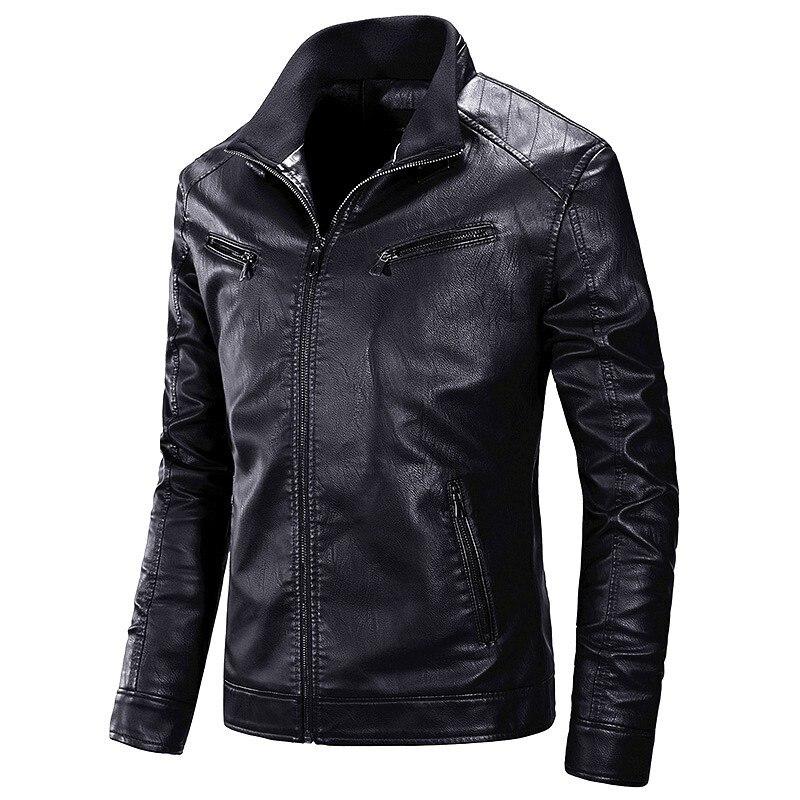 Men 2019 Autumn Motorcycle Causal PU Leather Warm Jacket Coat Men Spring Casual Masculinas Inverno Couro Jacket Overcoat Men 4XL мужские кожанные куртки с косой молнией