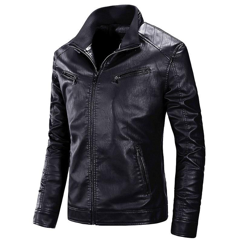 Мужская Осенняя коллекция 2019 года, Повседневная теплая куртка из искусственной кожи в байкерском стиле, Мужская Весенняя повседневная куртка, Мужская куртка 4XL