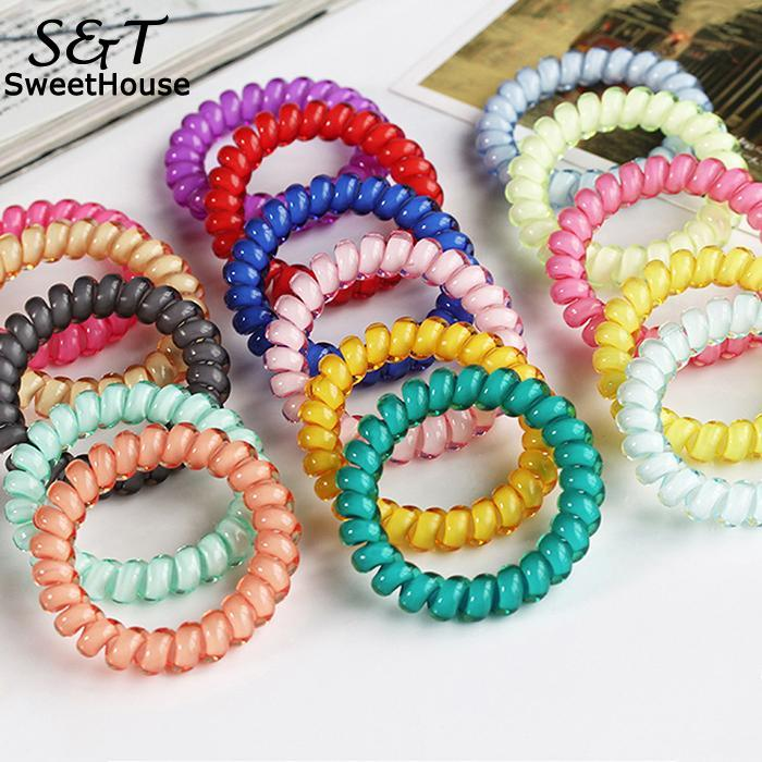 FANALA Multicolor Elastic Hair Bands Spiral Shape Ponytail Hair Ties Gum Rubber Band Hair Rope Telephone Wire Hair Accessories