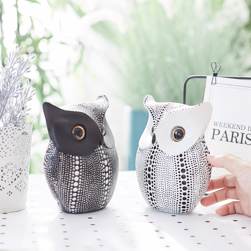 Cute Resin Owl Statue Home Decoration Ornament Kid's Room
