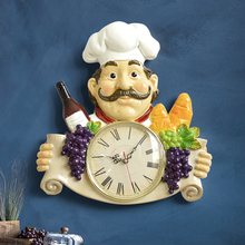 wall clock resin Chef statue decor Vintage silent quartz Clock for Restaurant study hanging home decoration