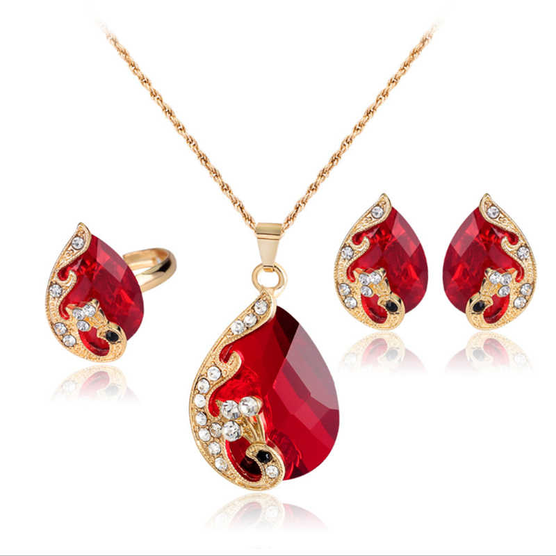 Hot Sale 5 Colors Crystal Water Drop Pendants Necklaces Earrings Set Peacock Elegant Jewelry Set Women Valentine Gifts Wholesale