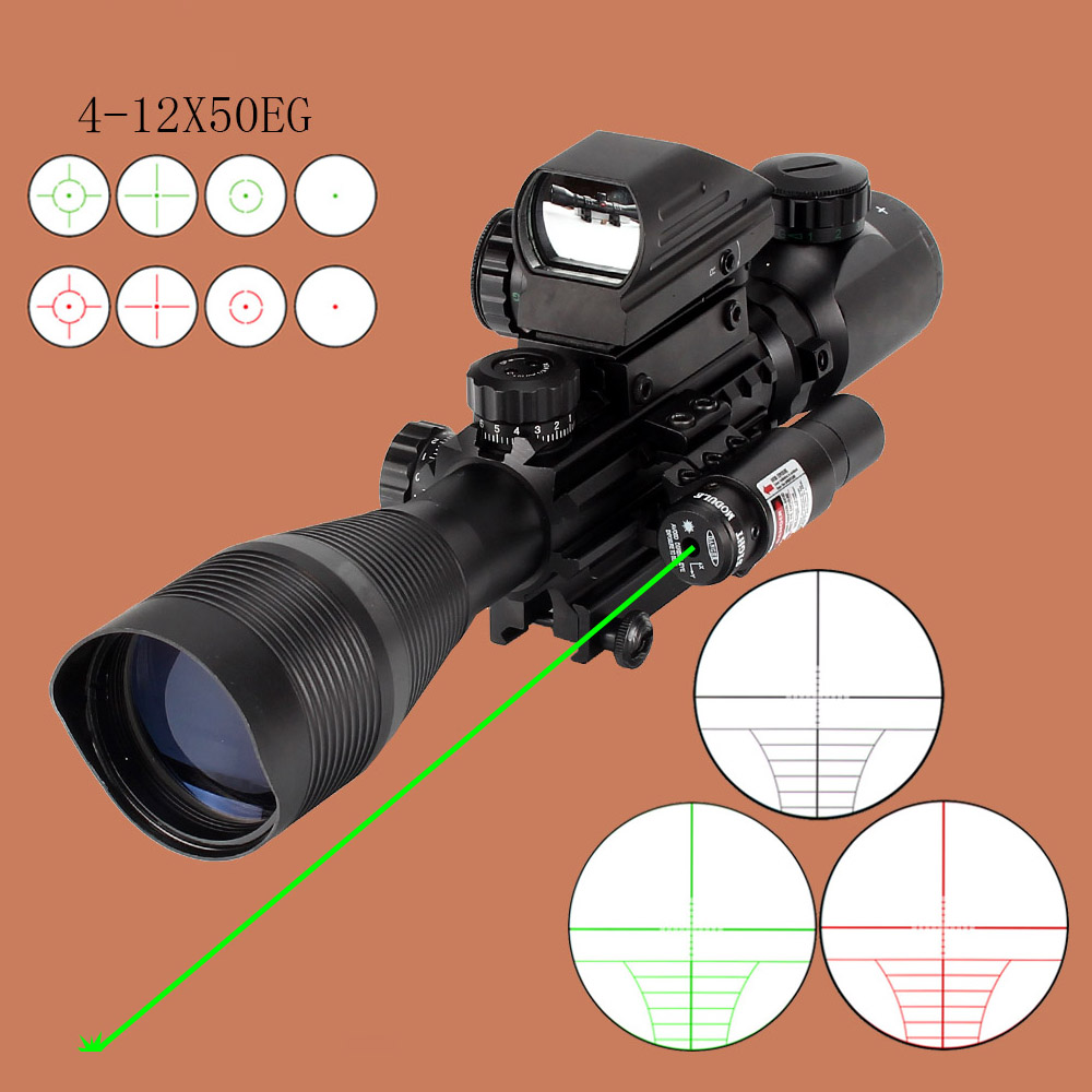 Sight Airsofts Rifle Laser Gun Riflescope ohhunt Tactical Optics Red 4 12X50EG Dot Air Holographic Green Hunting Scope