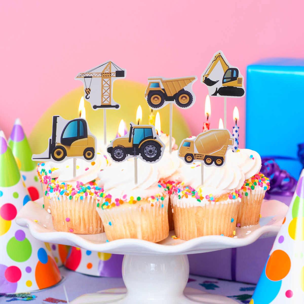 12 unids/set Nueva excavadora camión torta de cumpleaños divertida fruta decoración de postre Insertar tarjeta para fiesta de cumpleaños