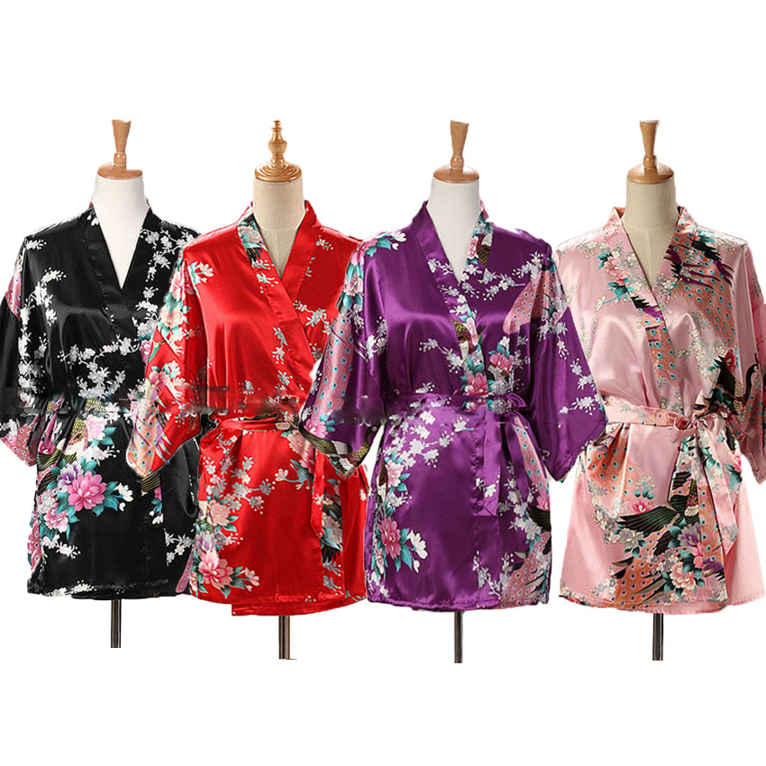 Lace Up Woman Peacock Print Japanese Kimono Yukata Silk Satin Short Style Sleepwear Home Nightgown Bath Robe Costume
