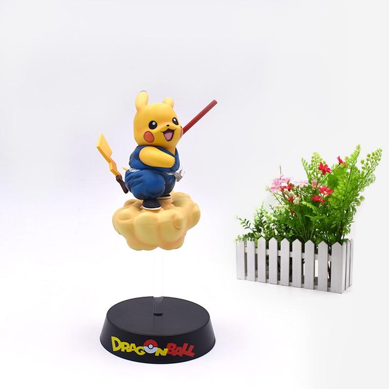 Free Shipping Anime Pikachu Cosplay Son Goku Dragon Ball Somersault Cloud Action Figure PVC Figurine Model Christmas Gift Toy