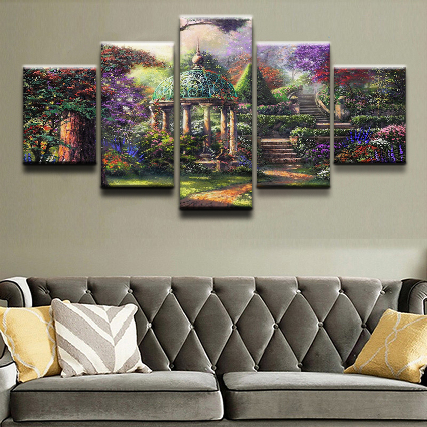 Modern Canvas Print Modular 5 Pieces Artistic Colorful Garden Gazebe Tree Painting Wall Art Home Decor For Living Room Pictures in Painting Calligraphy from Home Garden