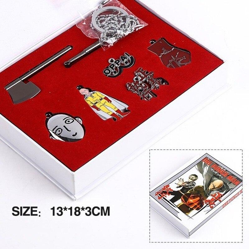 New Anime One Punch Man Weapon Sword Saitama Key Chain Weapons Pendants Cosplay Toy Set Metal Badge Key Ring