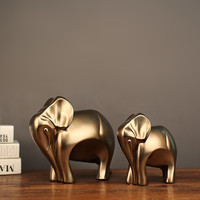 MRZOOT 2PC Golden Mother Elephant Elephant Golden Elephant Sculpture Household Accessories Ornaments Crafts Jewelry Accessories