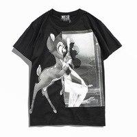 2018 New Short Sleeve Tee Shirt Black and white Deer Printed T Shirts Men O neck Loose Summer T shirt Casual Tshirt Homme B181