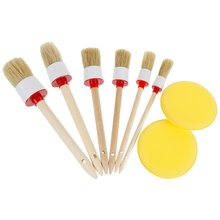 6pcs Auto Detailing Brush Set with 2 Car Wax Sponge Pads For Car Cleaning Wheels/Interior/Exterior/Leather/Air Vents/Emblems lucullan chemical resistant detailing brush for interior vents seams buttons exterior wheels window tracks grills emblems