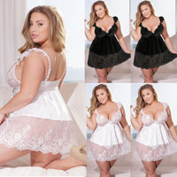 Женское платье плюс размер 3XL-5XL сексуальное женское кружевное бельё женское платье нижнее белье Babydoll
