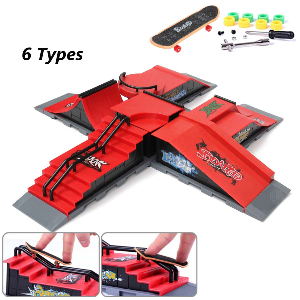 1x Finger Skateboard Park Skate Park Ramp Parts For Tech Deck Fingerboard For Ultimate Parks Birthday Toy Gifts For Children