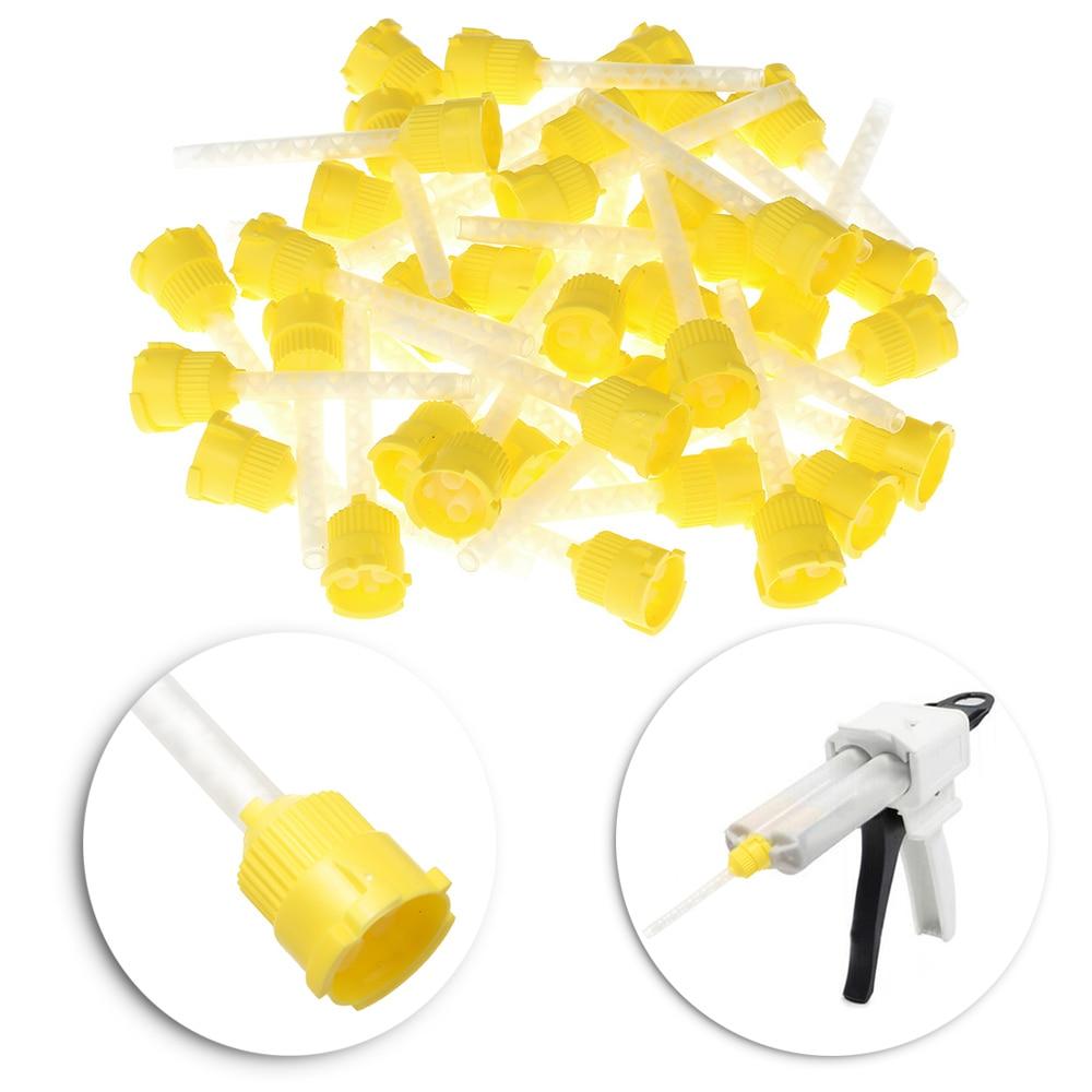 50 unidades/pacote Amarelo 4.2 milímetros Dental Impression Misturando Dicas Dispenser Descartável Dental Dicas De Mistura Amarelo de Borracha de Silicone Do Produto